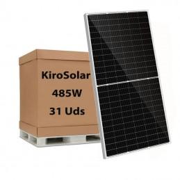 Palet 31 Placas fotovoltaicas monocristalina KiroSolar 485W/24V M-PERC 156 células PF